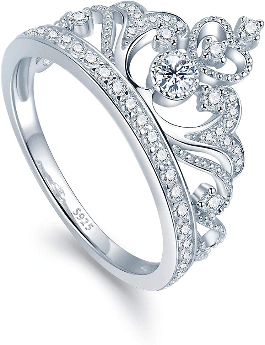 Ronliy White Gold Color Princess Queen Crown Ring Wedding Rings for Women Jewelry
