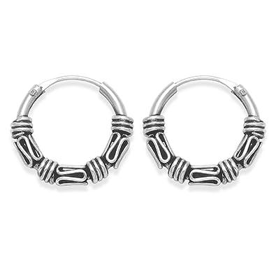 Sterling Silver Bali Hoop earrings, 3 x twist wires - Size 12mm diameter 6202