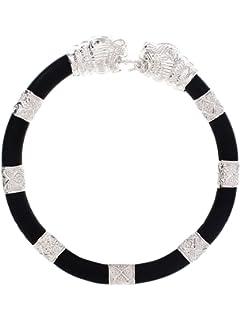 ed25d33158f ARSIDH Genuine Black Rubber 92.5 Pure Sterling Silver Bracelet Kada ...