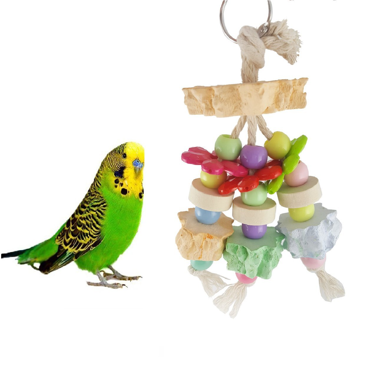 Stock Show 1Pc Pet Birds Wood Toy, Colurful Molar Stone Hanging & Chewing Toy Cage Accessories for Small Medium Parrot/Macaw/Cockatiels
