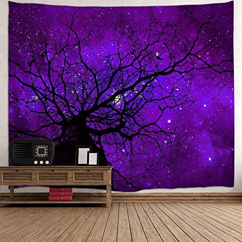 QCWN Mystic Forest Farm House Decor Tapestry Dark Forest Scenery Sunbeams Woodland Landscape Wall Hanging Bedroom Living Room Dorm Home Art (Purple, 78Wx59L)