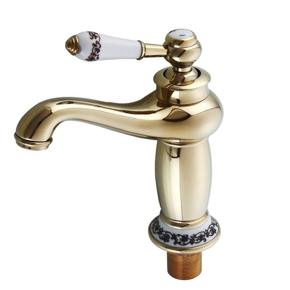OBLLER Retro Einhebel Wasserhahn Waschbecken Bad Küche Messing Armatur Mischbatterie (Goldene)
