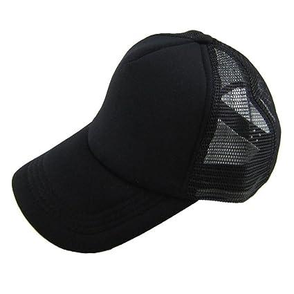 Unisex Ponytail Cotton Blank Baseball Cap Adjustable Sun Breathable Hat
