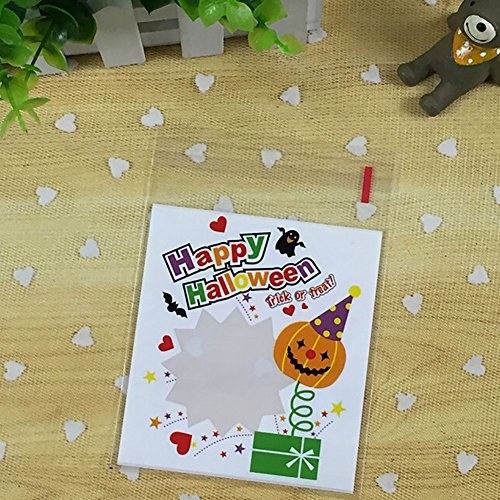 Smartcoco 100pcs Spooky Pumpkin Halloween Trick or Treat Plastic Candy Bags for Party Favors, Snacks, Decoration, Children Arts & Crafts, Event (Spooky Halloween Decorating Ideas)