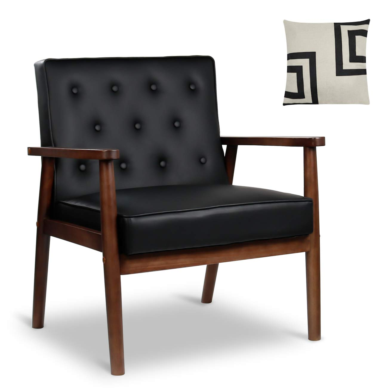 Mid-Century Retro Modern Accent Chair Wooden Arm Upholstered Tufted Back Lounge Chairs Seat Size 24.4 18.3 Deep