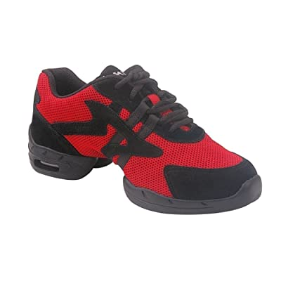 Sansha Adult Black Red Leather Mesh Motion 1 Low Top Sneakers Womens 3-20