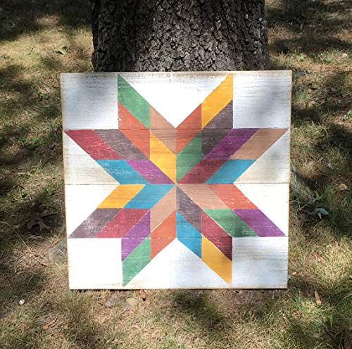 kanwa Barn Quilt Sign 22x22 Square Barn Quilt Patterned Sign Star Multicolor with White Background
