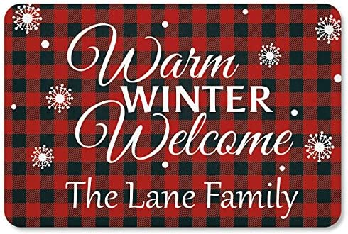 Lillian Vernon Buffalo Plaid Personalized Christmas Doormat – Custom 18 x 27 Non-Skid Rubber Back Polyester Floormat, Christmas Welcome Mat
