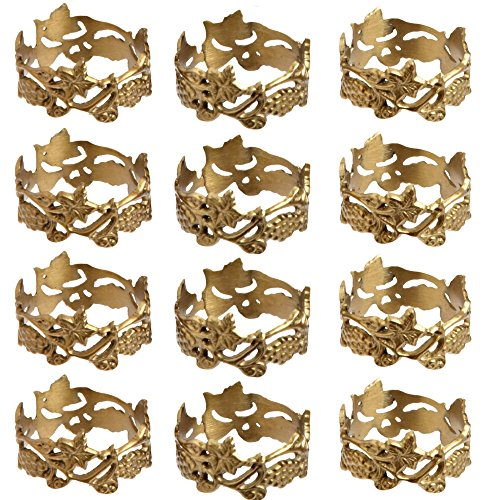 DII Napkin Rings for Dinners, Parties, Everyday, for Dinners, Parties, Everyday, Set of 12, Grapevine
