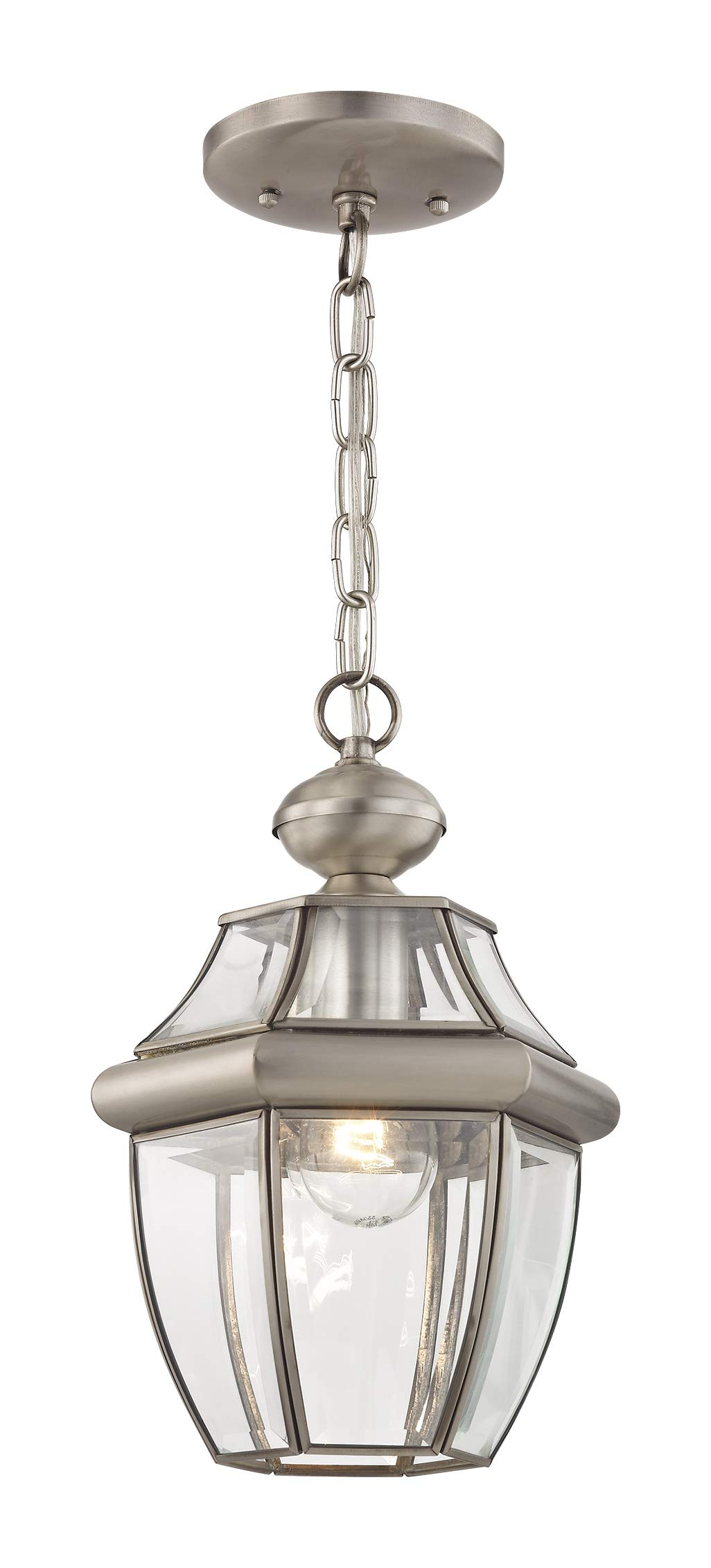 Livex Lighting 2152-91 Monterey 1-Light Outdoor Hanging Lantern, Brushed Nickel