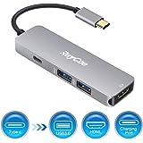 USB C ハブ USB Type-c ハブ 4K HDMI出力 タイプ C PD充電器 USB3.0ハブ Type C-HDMI マルチ変換アダプタ マルチハブ USB-C HUB Macbook (白)