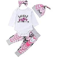 Kmbangi Baby Girls' 4 Pcs Infant Newborn Outfit Little Sister Romper Pant Set+Headband+Hat