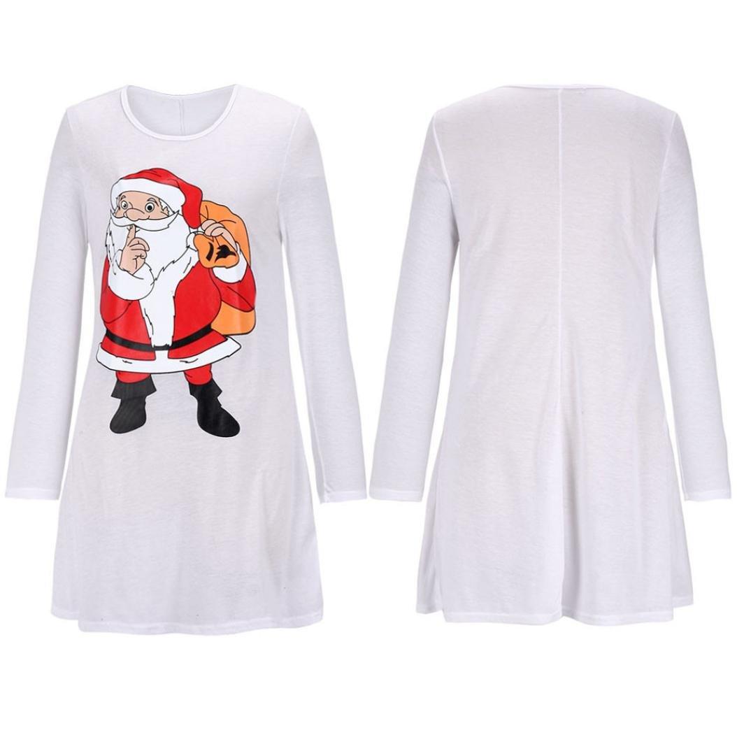 elogoogレディースクリスマスサンタクロース印刷カジュアル長袖チュニックスイングミニワンピース B0775T4BWQ X-Large|ホワイト ホワイト X-Large
