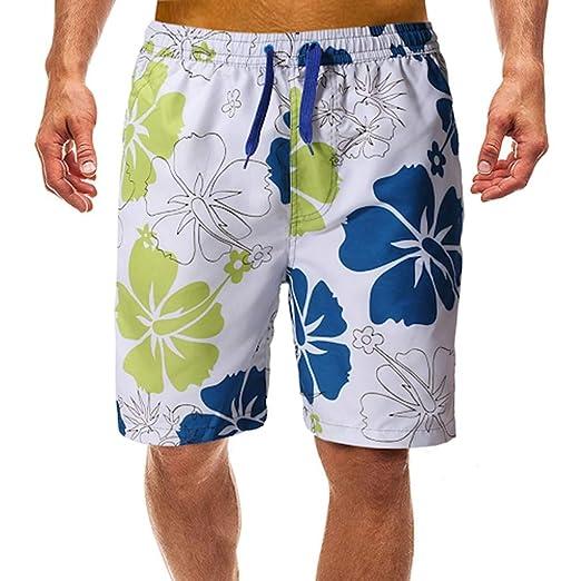 Mens Floral Cargo Beach Summer Board Swim Surf Shorts Cotton Linen Casual Shorts
