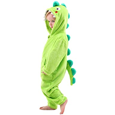 dec25c6f1 Amazon.com: Little Boys Dinosaur Dragon Costume Onesie -Kids Fleece Pajama:  Clothing