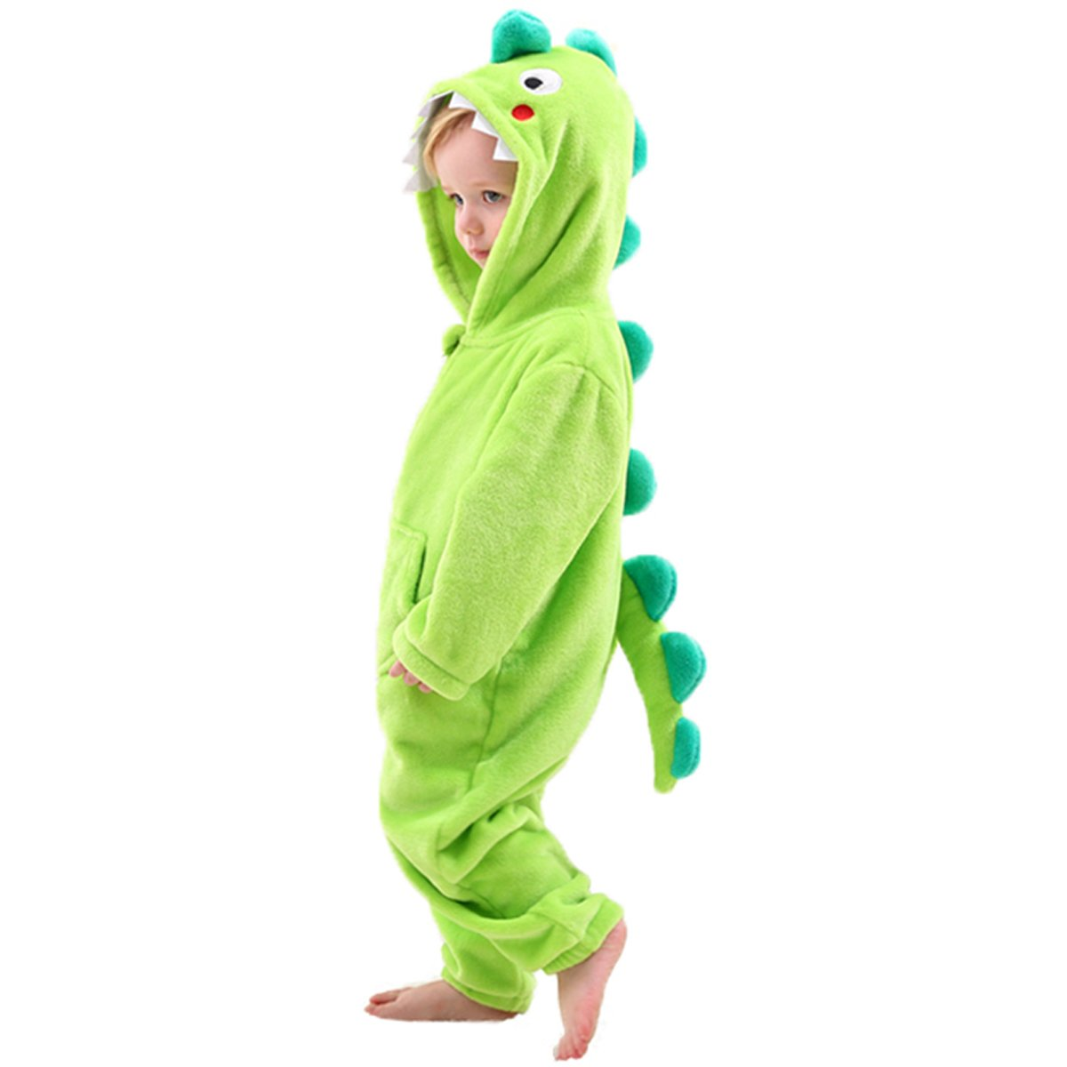 Little Boys Dinosaur Dragon Costume Onesie -Kids Fleece Pajama Green