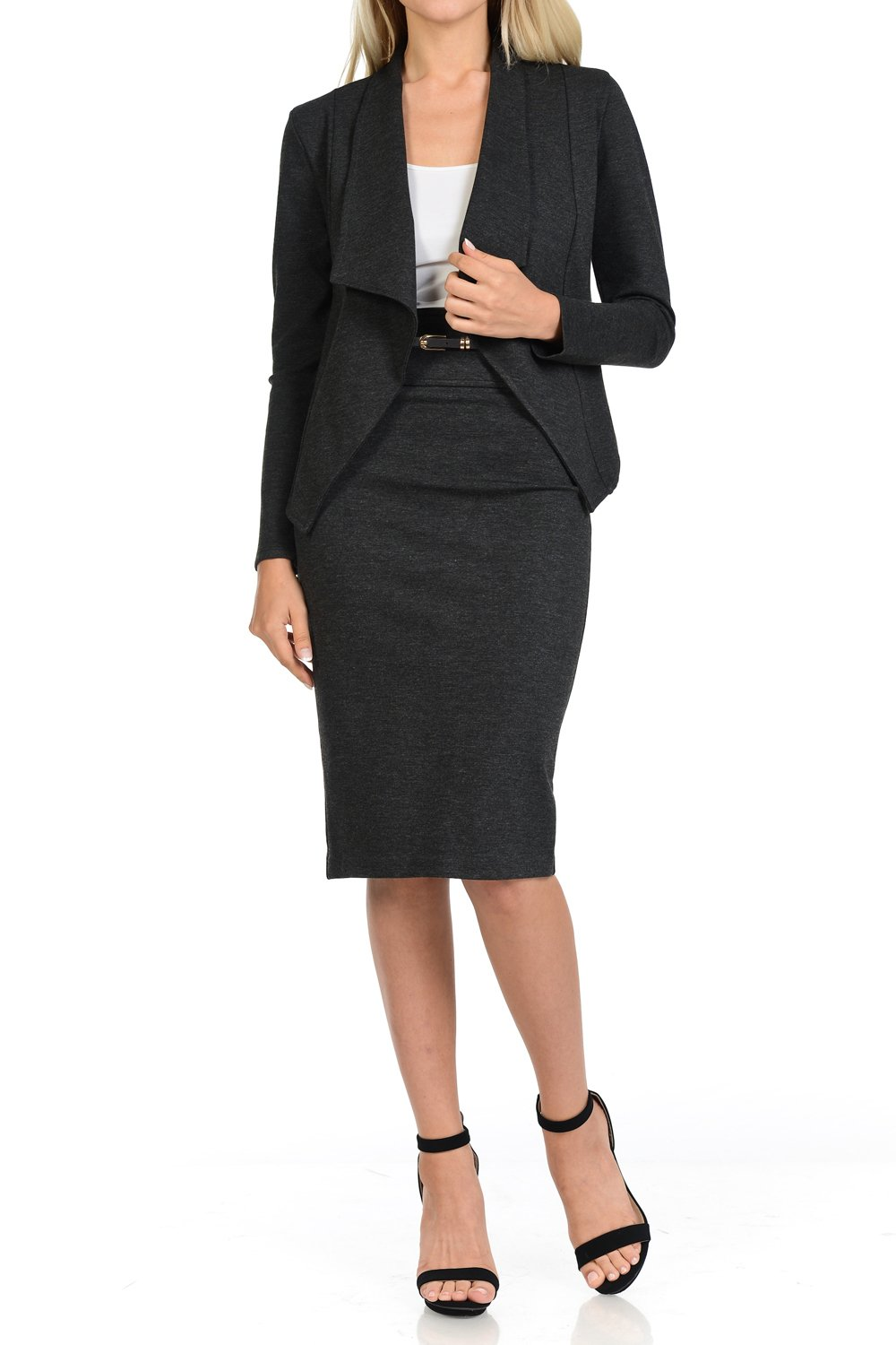 Sweethabit Womens Two Piece Wear to Work Solid Blazer and Pencil Silhouette Skirt,Pants Set (XLarge, 3087_Charcoal)