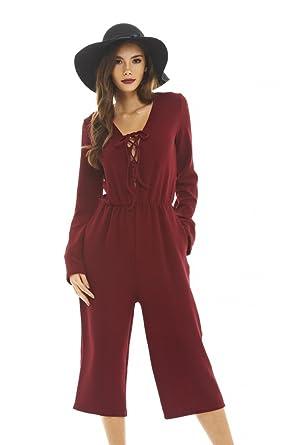 54946de16a Amazon.com  AX Paris Women s Lace Up Culotte Jumpsuit  Clothing