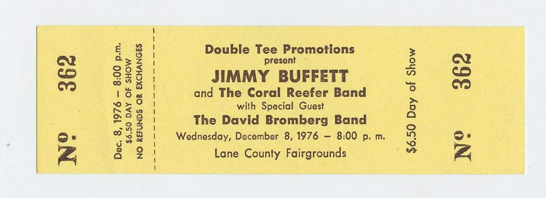 Jimmy Buffett Ticket 1976 December 8 Lane County Eugene Oregon Unused
