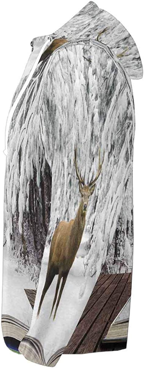 INTERESTPRINT Mens Lightweight Full Zip Hoodie Red Deer Stag in Snow Covered Winter Forest