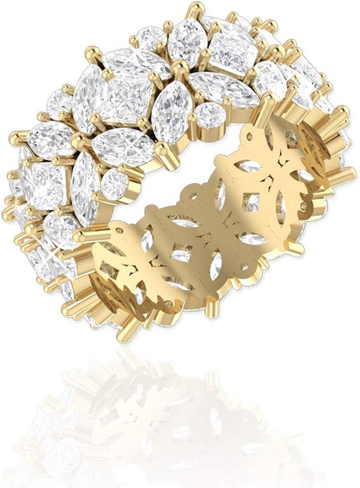 Belinda Jewelz 18k Gold Vermeil or Sterling Silver Marquise CZ Eternity Ring