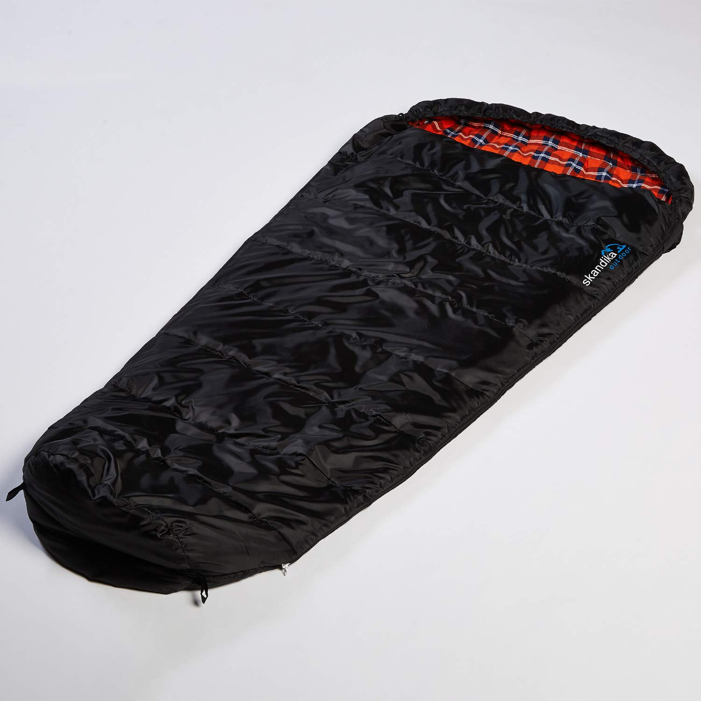 SKANDIKA Vegas Sac de Couchage en Flanelle XXL avec Fermeture /Éclair Noir 220 x 110 cm