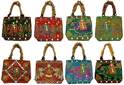 Hand Women's color Multi 5 Lot Silkroude Vintage Christmas Indian Pcs Bag FSqwt