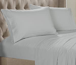 Posh Home Solid Sheet Set - Double Brushed 3 Piece Ultra Soft Sheet Set Wrinkle & Fade Resistant (Twin, Light Grey - Solid)
