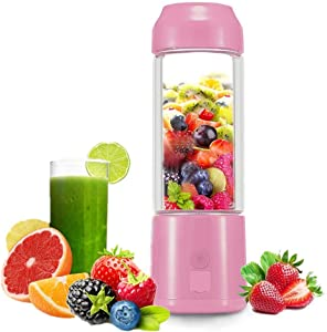 Portable USB Juicer Cup -Suitable for Personal Travel/Household Fruit and Vegetable Smoothie Mixer-USB Rechargeable Small Handheld Blender 480ML- (pink)