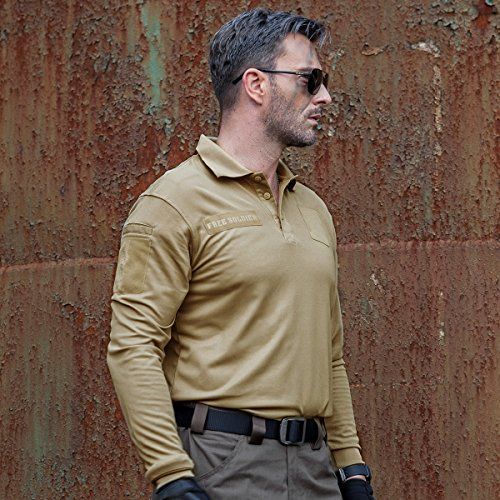 c945ec0a9cf4 FREE SOLDIER Men s Long Sleeve Polo Shirt Breathable Coolmax Tactical Polo  outlet