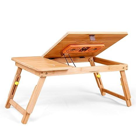 Mesa Ordenador Plegable Mesa Portátil con Ventilador para Sofá Y Cama, Escritorio Plegable Multiusos Portátil