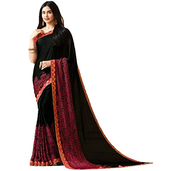 082f979382 Glamory Georgette Black Designer Stunning Printed saree with blouse:  Amazon.in: Clothing & Accessories