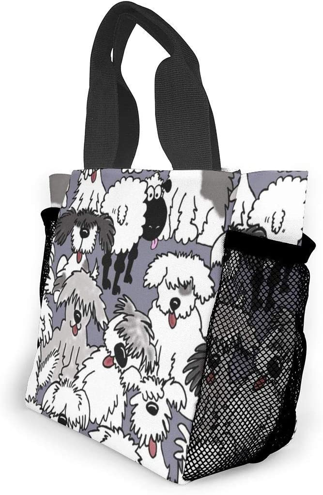Leakproof Multi-Purpose Lunch Holder Premium Totebox Reusable Snack Bag PhqonGoodThing Lunchbox Carry Case Container for Women Men School Office Old English Sheepdogs