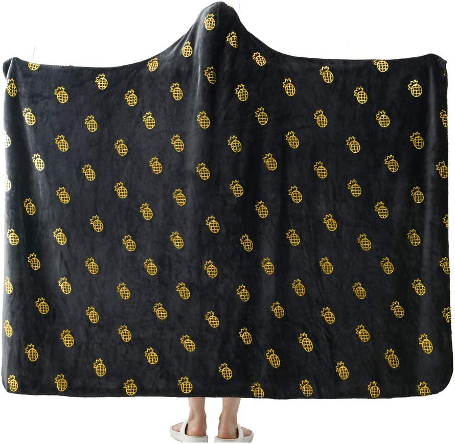 """NANPIPER Flannel Fleece Blanket, Hoodie Wearable Super Soft Throw Blanket, Hot Stamping Pineapple Pattern Microfiber Fleece Throw for Sofa Couch (Twin Size 65""""x80"""", Grey)"""