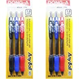 Dong-a Knock Rubber Grip Anyball 501 Ballpoint Pens 0.5mm Black Blue Red 12 Pcs