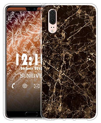 Funda Para Huawei P20 Lite, Sunrive Silicona Slim Fit Gel Transparente Carcasa Case Bumper de Impactos y Anti-Arañazos Espalda Cover(tpu Mármol blanco) tpu Mármol negro