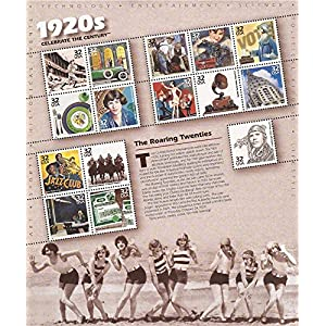 1920s: The Roaring Twenties (Celebrate the Century Series #3), Full Sheet of 15 x 32-Cent Postage Stamps, USA 1998, Scott 3184