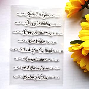 Words Happy Birthday Just for You Best Wishes Congratulations Clear Stamps for Card Making Decoration and DIY Scrapbooking