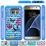 Galaxy S7 Case, HLCT Rugged Shock Proof Dual-Layer Case for Samsung Galaxy S7 (2016) (Blue Flower)