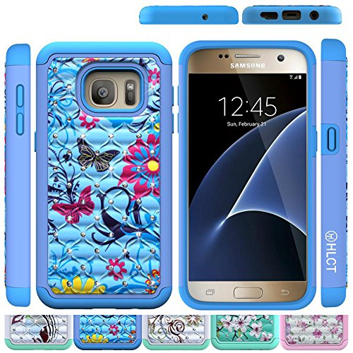Price comparison product image Samsung Galaxy S7 Case, HLCT Bling Diamond Rugged Shock Proof Dual Layer PC and Soft Silicone Case (Blue Flower)