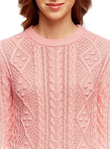 oodji Ultra Mujer jersey de Punto Texturizado con Cuello Redondo Rosa (4300N)