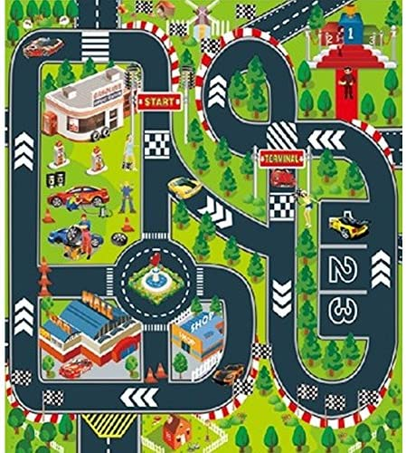 Kids Carpet Playmat,Thin Kid Felt for Toy Cars,Great For Playing With Cars and Toys,Boys and Girls Educational Road Traffic Play Mat- Learn and Have Fun Safely