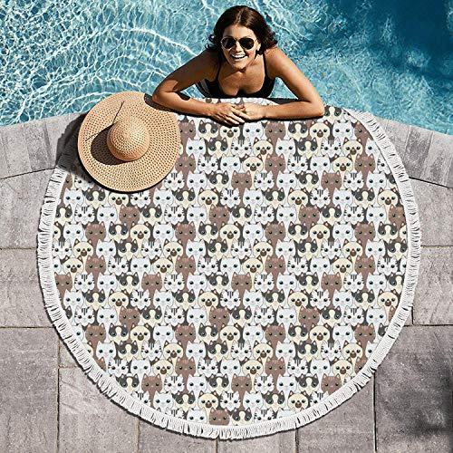 LONGUIRTEZ Wa Kaka Cat Print 60 inch Large Thick Beach Towel Circular Beach Towel Blanket Tassels Ultra Printed Design Picnic Mat Picnic Throw Durable