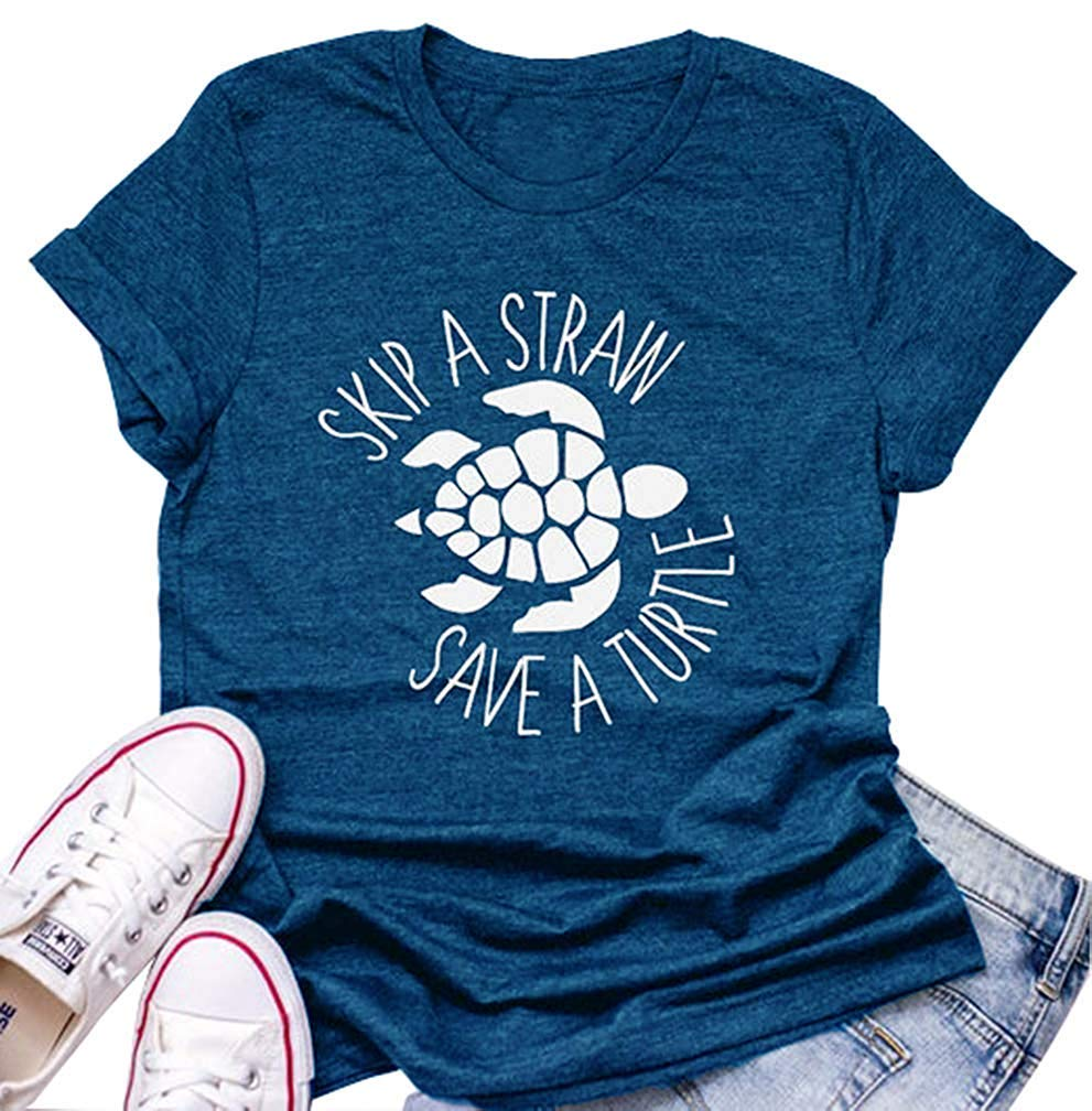 Skip A Straw Save A Turtle For Women Graphic S Ocean Environment Awareness Lovers Tops Shirts