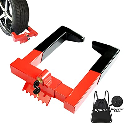 "OKLEAD Anti Theft Trailer Wheel Lock Clamp - Security Tire Claw Boot for Golf Cart Motorcycle Trailers ATV Max 12"" Width Tire with 2 Keys Red/Black: Automotive [5Bkhe1403275]"