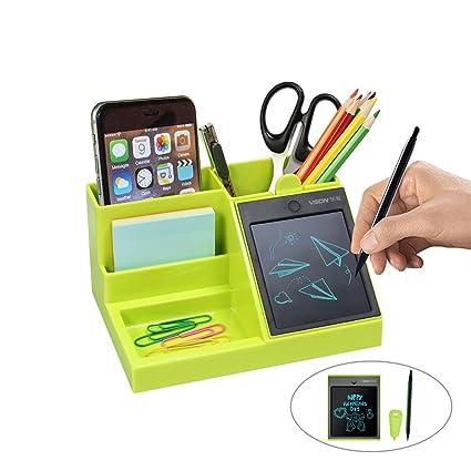 Organizador de escritorio multifuncional con tableta de escritura LCD para bolígrafo/tarjeta de visita/teléfono móvil