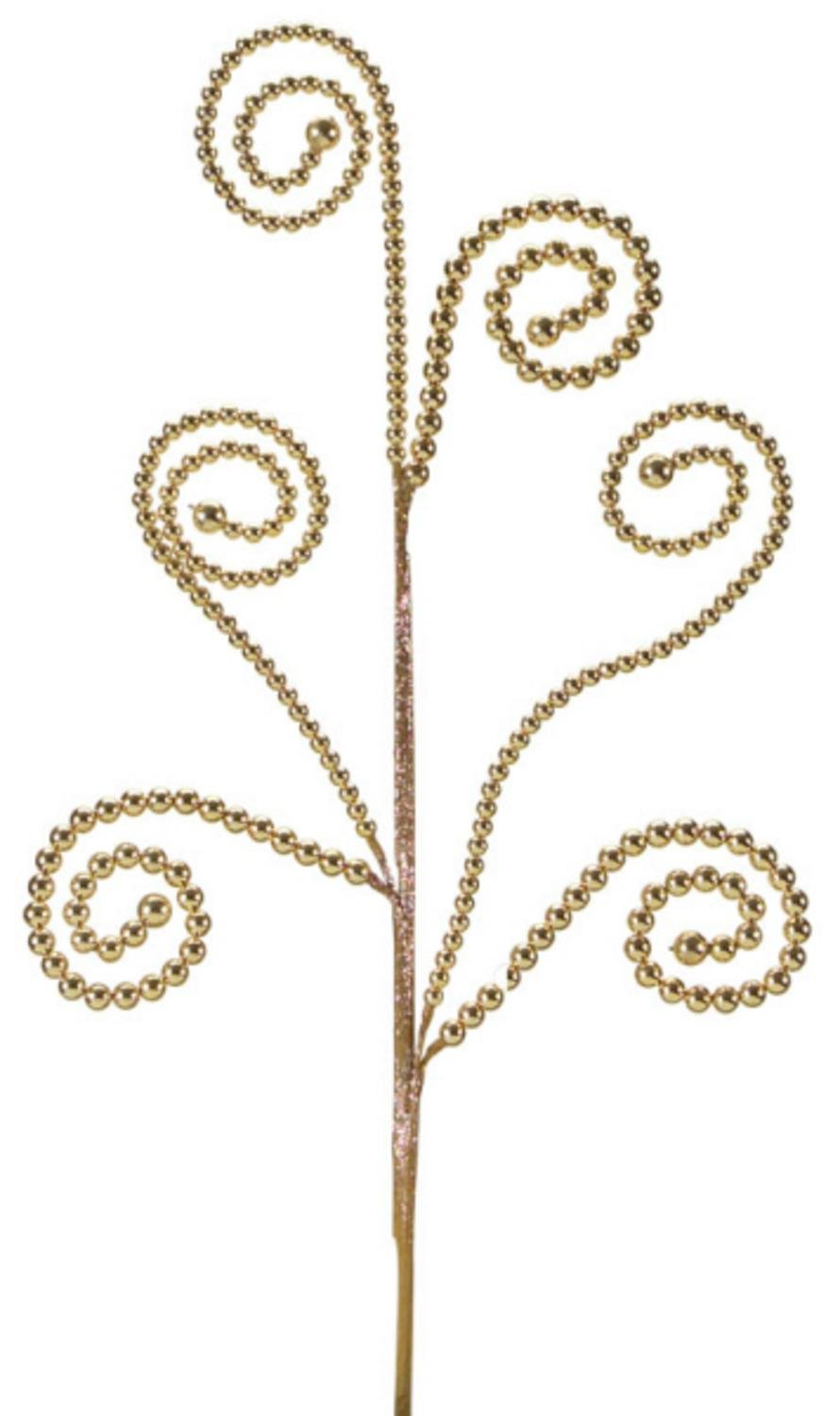 Club Pack of 12 Dazzling Golden Swirled Bead Artificial Sprays 27'' by Melrose