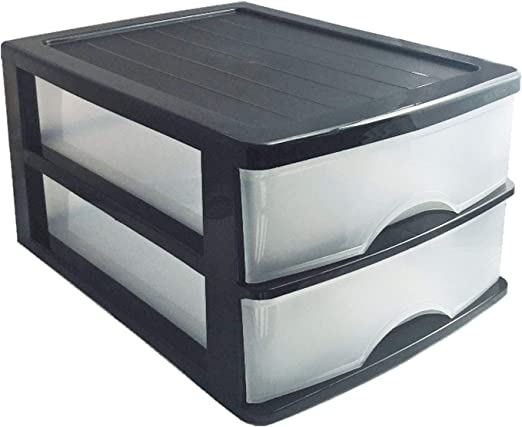 Plastic Forte Cajonera de sobremesa Negra 2 cajones Transparentes ...