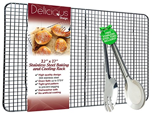 Baking Rack - Cooling Rack with FREE Tong Bundle, Stainless Steel , Non Stick, Dish Washer Safe, Rust Free, Oven Safe, Robust for Roasting, Cooking, Grilling, Broiling (12 x 17 inches) (Chicken Wing Baking Rack compare prices)