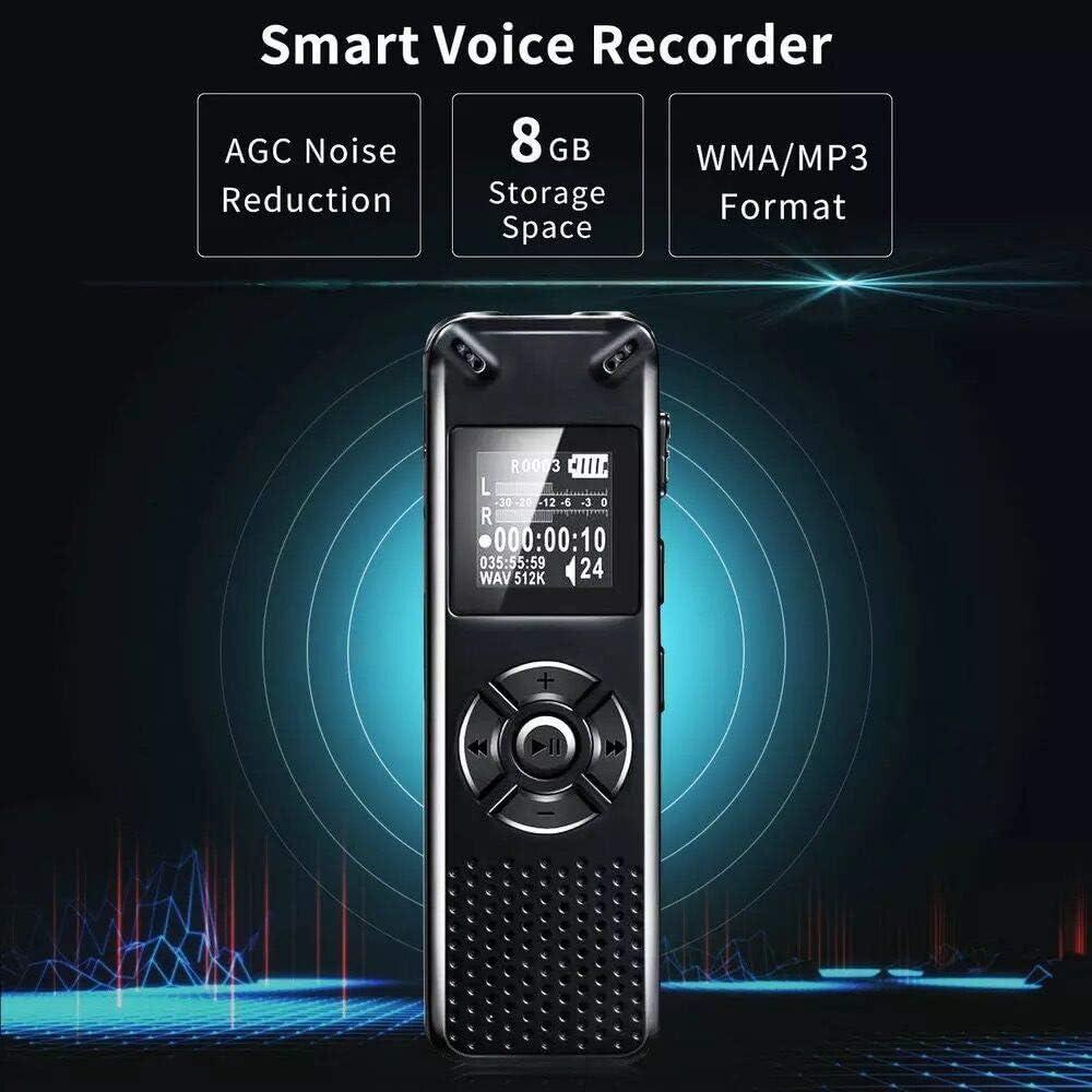 8GB 1536kbps HD-Audio Aufnahmeger/ät mit USB wiederaufladbarer//Sicherheitspasswort//MP3 Player//One-Touch Aufnahme Unterst/ützung TF Card 32G Expand f/ür Lectures Meetings SP-Cow Digitales Diktierger/ät